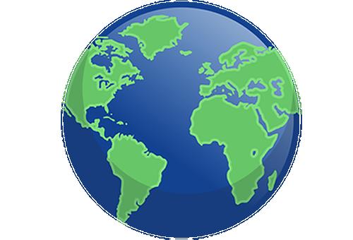 Ícone de mapa representando 65 milhões de pessoas no mundo com catarata