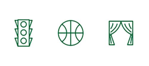 Ícones de semáforo de trânsito, bola de basquete e cortina de palco representando uma melhor visão de longe
