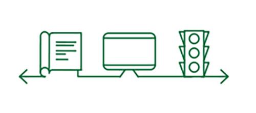 Ícones de livro, computador e semáforo de trânsito indicando uma melhor visão de longe