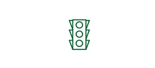Ícone de semáforo de trânsito indicando uma melhor visão de longe com a LIO TECNIS® Multifocal