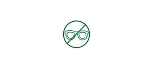 Ícone indicando que não há necessidade de óculos